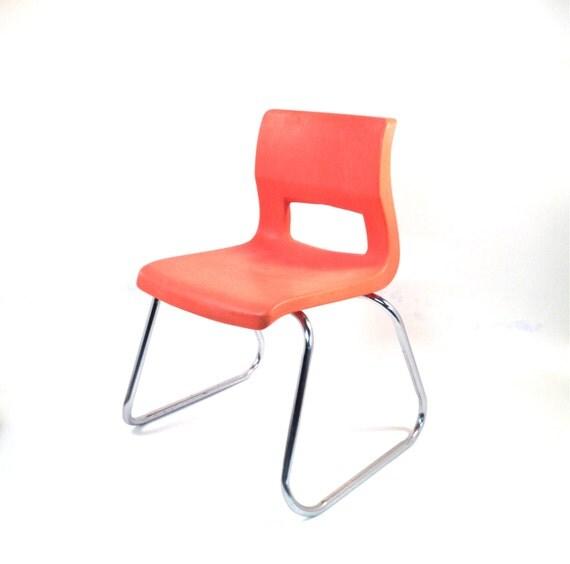 Mid century kids chair in orange metal chrome by for Orange kids chair