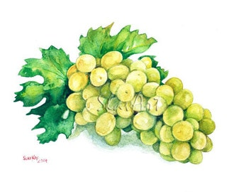 Fruit Art - Painting of Grape Cluster Food Still Life Print Watercolor Painting Fine Art Home Decor Realistic Kitchen art