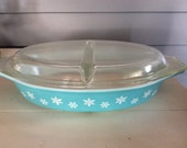 Pyrex Aqua Blue Snowflake Divided Casserole Dish with Lid