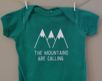 Baby bodysuit, clothes, The Mountains are Calling, baby gift, climbing, wanderlust, travel, baby boy, baby girl, colorado, toddler tee