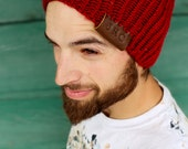 Custom Hand Made Knit Beanie Toque - Leather Stamped Initials - Unisex