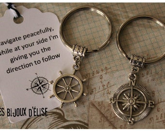Set of 2 Personalized Shipwheel and Compass Keychain Antique Silver Nautical Key Chain Best Friends  His and Hers Couple Keychain (KC39)