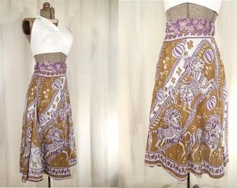 1970s Skirt// Wrap Skirt// High Waist Skirt// XL Skirt// Purple Wrap Skirt// Hippie Skirt// Midi Boho Skirt// A Line Skirt// Horse Print XL