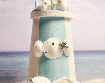 Lighthouse Cake Topper - Beach Cake Topper - Cake Topper for Small  Or ANY SIZE Cake - Seagull Cake Topper