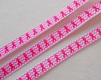 Breast Cancer bow/Pink chevron back ground…3/8in. grosgrain ribbon. Used for making hair bows sewing and many other creative uses.