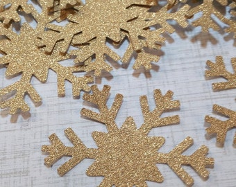 20 Gold Shimmer Die Cut Snowflakes.  #S-46