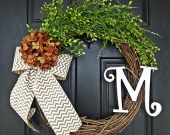 Brown Hydrangea Fall Wreath with Chevron Burlap Bow, White Curly Monogram Wreath, Fall Burlap and Hydrangea Wreath, Fall Monogram Wreath