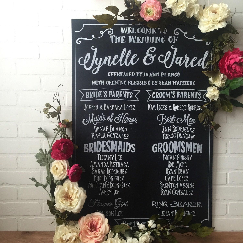 Wedding Chalkboard: Wedding Program Chalkboard Sign Large Wedding By