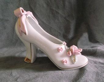 Vintage Royal Japan Hand Painted Ceramic Figurine Shoe
