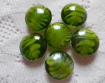 8  Olivine Green & White Inner Swirl Round Puffed Lampwork Glass Beads  20mm