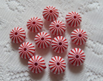 10  Peppermint Christmas Striped Red & White Puffed Ribbed Melon Acrylic Beads  14mm