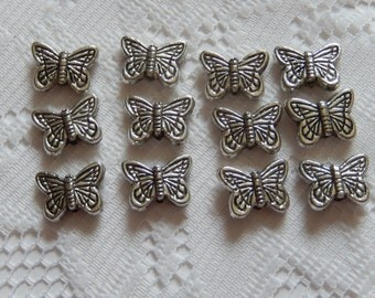 12  Antique Silver Etched Butterfly Acrylic Beads  17mm