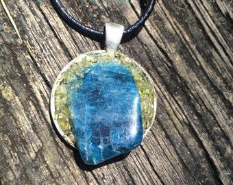 Blue Apatite stone pendant with Green Peridot crystal metaphysical gypsy pagan magick hippie bohemian handmade new age chakra jewelry