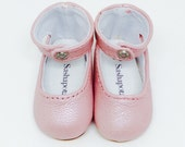 "Pink Pearl leather ankle-strap shoes for 16"" Sasha and a Girl for All Time dolls"