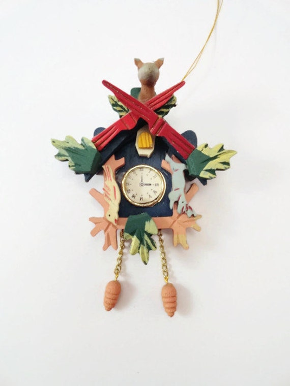 Vintage hand painted wooden cuckoo clock christmas ornament - Colorful cuckoo clock ...