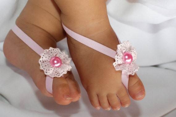 Pink Flower Sandals, Barefoot Sandals, Baby Sandals, Pink Sandals, Sandals For Babies, Baby Accessories, Crib Sandals, Newborn Shoes