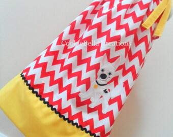 Bolt the Super Dog Disney Red Chevron and Golden Yellow Trim Pillowcase Dress