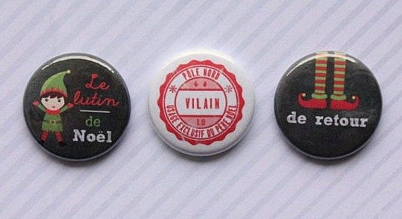 "3 Badges 1"" Lutin de Noël"
