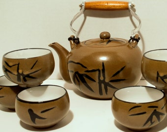 SOLD Vintage Japanese Stoneware Teapot with Wood and Aluminum Handle and 6 Teacups