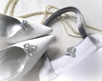 Vintage style wedding bridal bridesmaids sparkly bag clutch & shoe clips set