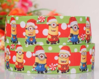 "Disney - Minion Christmas Themed Grosgrain Ribbon - 7/8"" - 22mm Wide - Per Meter"
