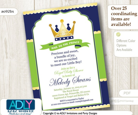 Royal Blue And Lime Green Wedding Invitations: Blue Green Gold Prince King Shower Invitation For Boy,king