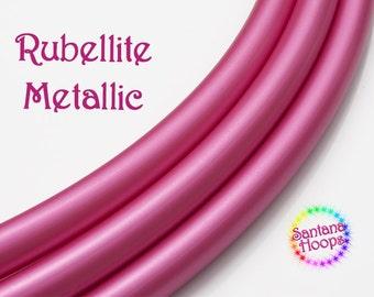 "3/4"" Rubelite Metallic PolyPro Hula Hoop Button collapsible  -Free Grip Tape Option-"