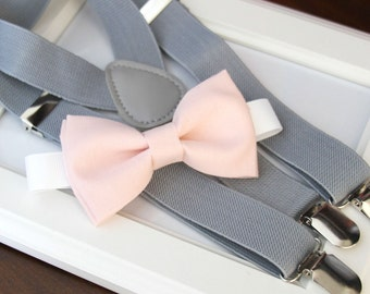 Light Pink bow-tie & Gray elastic suspender set, Adjustable neck strap and suspender - Blush pink bow tie and Gray suspenders