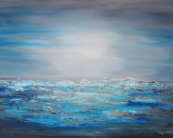 ORIGINAL blue modern seascape painting Large Modern Art Contemporary Palette Knife textured fine art ready to hang seascape- The Beach