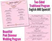 Spanish/English Wedding program - traditional or fan - one sheet pink shimmer cardstock printed on both sides