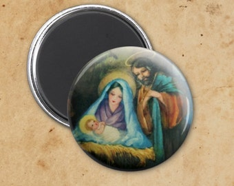 Joseph, Mary and Jesus Nativity Scene Vintage Religious Christmas Magnet