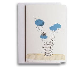 Rainy day greeting card - A6