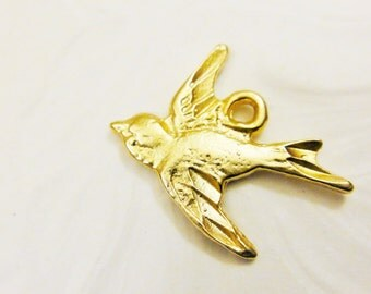 Vermeil, 18k gold over 925 sterling silver  Swallow Bird Charm, Pendant 1 pc., gold swallow bird, vermeil bird