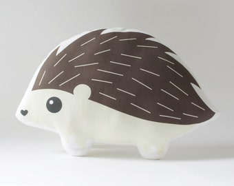 Hedgehog Pillow Plush Toy - Stuffed Hedgehog Cushion - Woodland Nursery Decor