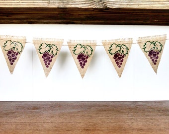 Grape Burlap Banner Bunting Triangle Pennant Wine Sign Vineyard Home Decor