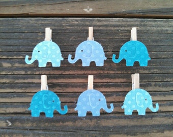 12 Ombre Blue Elephant Mini Clothes Pins Baby Shower Party Favor Clips Baby Boy Nursery Decor