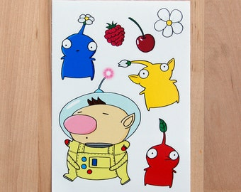 Pikmin Sticker Set: Olimar, Red, Blue and Yellow Pikmin
