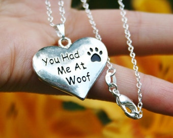 Dog Lover Jewelry Sterling Silver 925 Necklace Chain You Had Me At Woof Charm Pendant Romantic Paw Print Heart Love Puppy Adoption Mothers