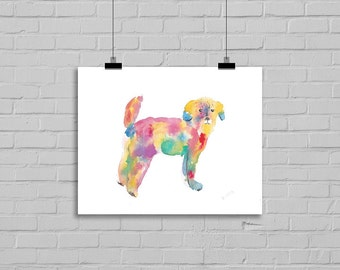 Dog Print Rainbow Fluffy Dog Watercolor Painting Rainbow Dog Art Painting Print Watercolour Art Schnoodle Dog Watercolor
