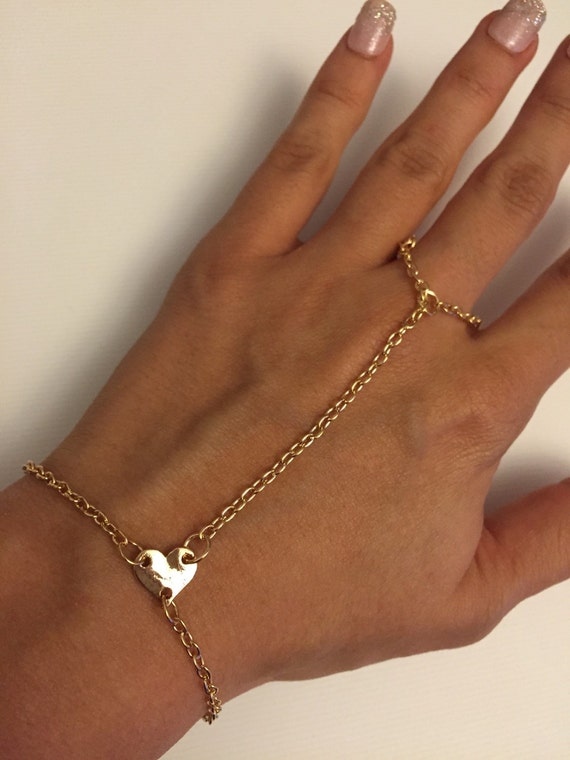 Gold Heart Hand Chain Slave Bracelet Hand by AdornedWithLoveXO
