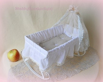 Antique 1920s doll crib, large old doll bed, made of white painted metal with lace canopy & mattress, shabby white old vintage doll cradle