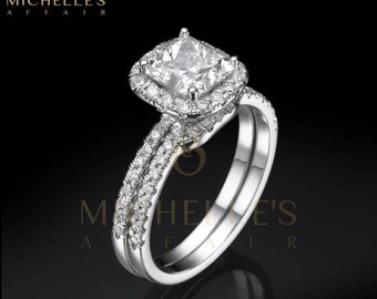 Women Diamond Rings Set 18K White Gold 3.25 Carat H VS2 Cushion Cut Engagement Ring And Half Eternity Wedding Band