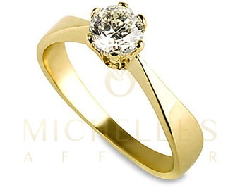 Engagement Ring Round Cut Diamond 0.40 Carat D VVS2 Solitaire Ring 18K Yellow Gold For Women