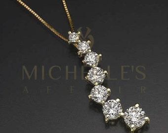 Ladies Journey Diamond Pendant Necklace 14K Yellow Gold Jewelry Set 2 Carat E VS2 Round Cut