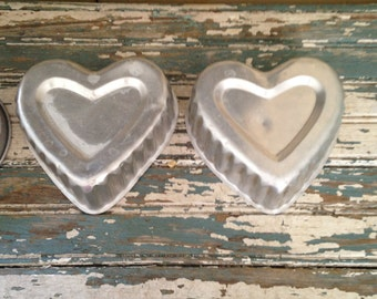 Aluminum Jello Molds 2 Heart Shapes Molds and 1 round Mold Cake Molds