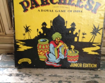 Vintage Parcheesi Game Board Junior Edition A Royal Game of India Vintage 1938 Parcheesi Game Wall Art Board Game Art Game Room