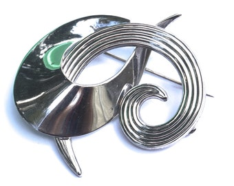 Silver Tone Modernist Swirl Brooch,Vintage Modernist Brooch,Silver Brooch,Vintage Swirl Pin,Curved Brooch,Modernist Jewelry,Costume Jewelry