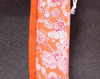 Yoga Mat Bag / Yoga Bag / Pilates Mat Bag / Bird Flower / Orange