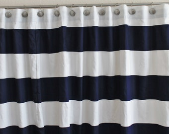 Fabric Shower Curtain 72 Wide Premier Print Cabana Horizontal Stripe Collection Navy Blue 72x72 72x84
