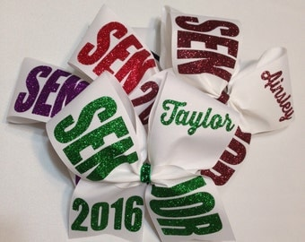 """Senior cheer bow class of 2016 white 2016, 2017, 2018 etc personalized 3"""""""
